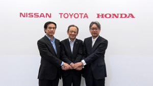 Ejecutivos de Nissan, Toyota y Honda anunciaron detalles del acuerdo para promover estaciones de hidrógeno