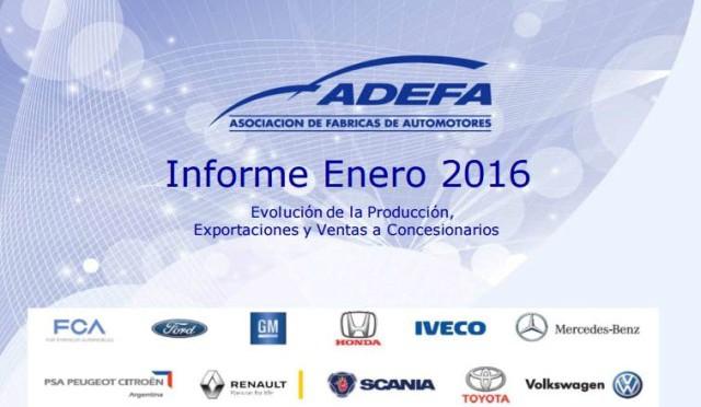 ADEFA | producción de autos en enero 2016 | Argentina