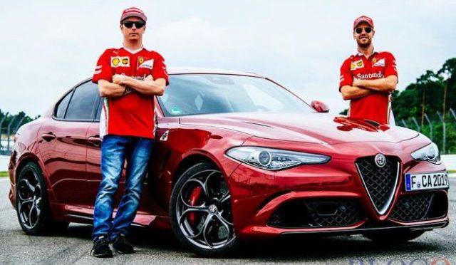 Vettel y Raikkonen | Alfa Romeo | los pilotos de Ferrari se mueven en Giulia