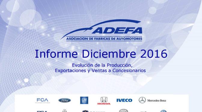 ADEFA   informe de la industria automotriz para el año 2016